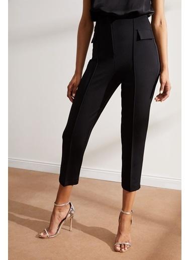 Setre Siyah Yüksek Bel Kat İzli Kumaş Pantolon Siyah